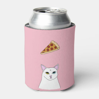 Cute Cat Pizza Illustration Can Cooler