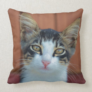 Cute cat portrait throw pillow