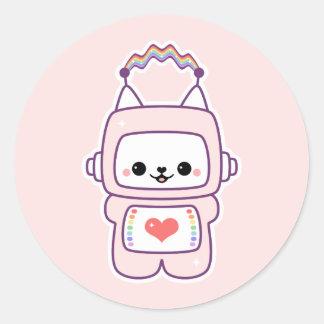 Cute Cat Robot Classic Round Sticker