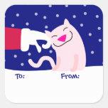 Cute Cat & Santa Gift Tag Sticker