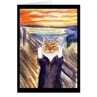 Cute cat The Scream spoof greeting card