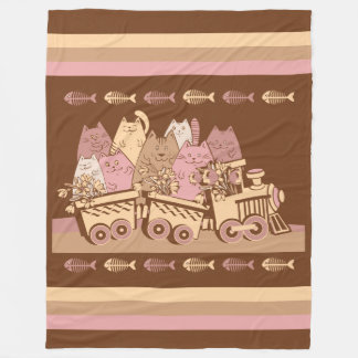 Cute Cat Train Fleece Blanket