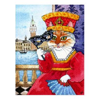 Cute cat Venice Carnival or Valentines postcard