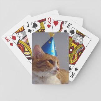 Cute Cat Wearing Blue Party Hat Playing Cards