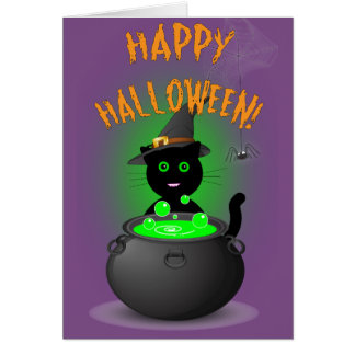 Cute Cat Witch Halloween Cart Card