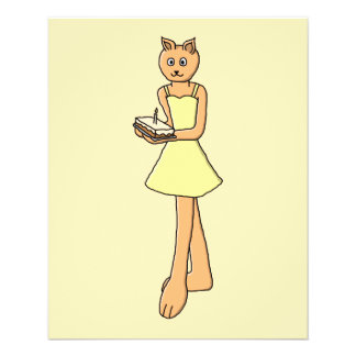 Cute Cat with Birthday Cake. Flyer