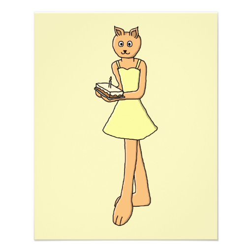 Cute Cat with Birthday Cake. Flyers