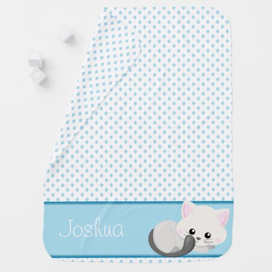 Cute Cat with Blue Diamonds Pattern | Personalized Receiving Blankets