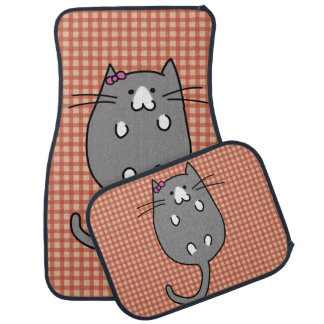 Cute Cat with Bow Car Mat
