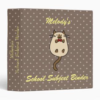 Cute Cat with Bow Tie Vinyl Binder