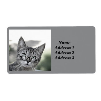 Cute Cat with Glasses Address Label