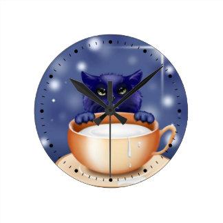 Cute Cat With Milk Round Clock