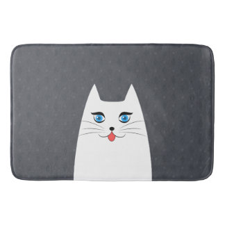 Cute cat with tongue sticking out bath mat