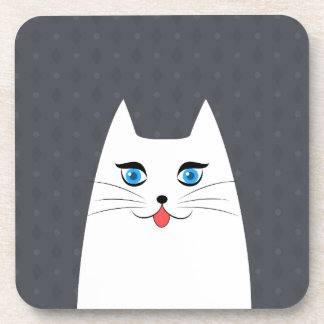 Cute cat with tongue sticking out coaster