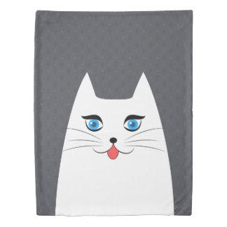 Cute cat with tongue sticking out duvet cover