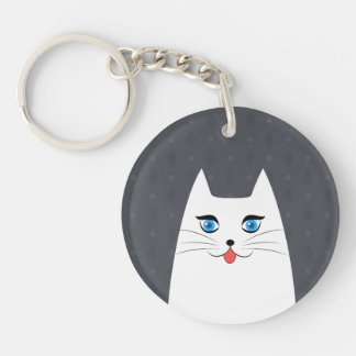 Cute cat with tongue sticking out keychain