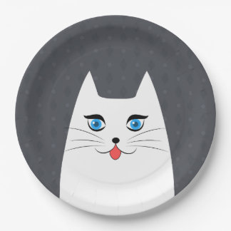 Cute cat with tongue sticking out paper plate