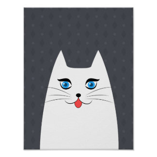 Cute cat with tongue sticking out poster