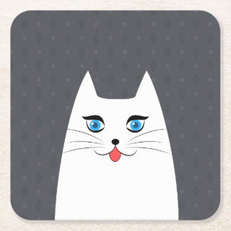 Cute cat with tongue sticking out square paper coaster