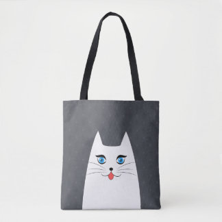 Cute cat with tongue sticking out tote bag