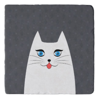 Cute cat with tongue sticking out trivet