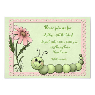 Cute Caterpillar, Daisy, Birthday Invitation