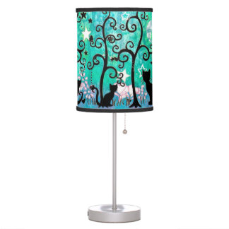 Cute Cats and Curly Trees Illustration Table Lamp