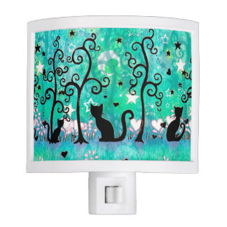 Cute Cats and Curly Trees Night Light