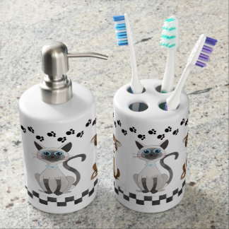 Cute Cats and Paw Prints Bathroom Sets