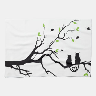 Cute cats and tree tree silhouette picture kitchen towel