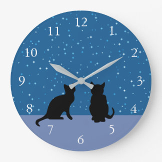 Cute cats dark night sky with stars large clock