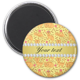 Cute Cats Faux Gold Foil Bling Diamonds 2 Inch Round Magnet