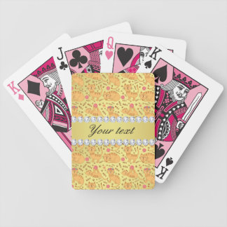 Cute Cats Faux Gold Foil Bling Diamonds Bicycle Playing Cards