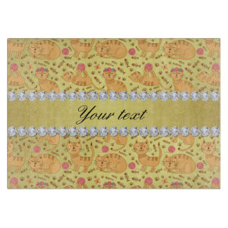 Cute Cats Faux Gold Foil Bling Diamonds Cutting Board