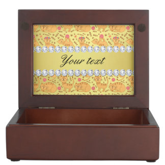 Cute Cats Faux Gold Foil Bling Diamonds Keepsake Box