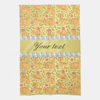 Cute Cats Faux Gold Foil Bling Diamonds Kitchen Towel