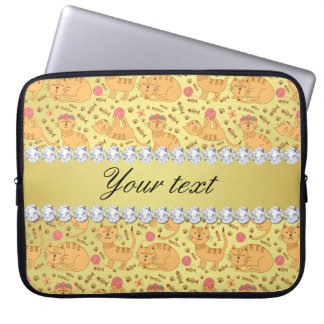 Cute Cats Faux Gold Foil Bling Diamonds Laptop Sleeve