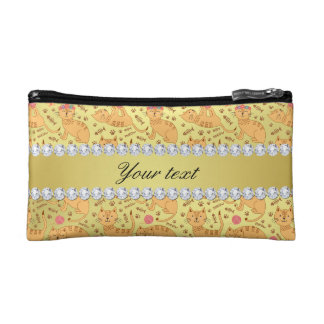 Cute Cats Faux Gold Foil Bling Diamonds Makeup Bag