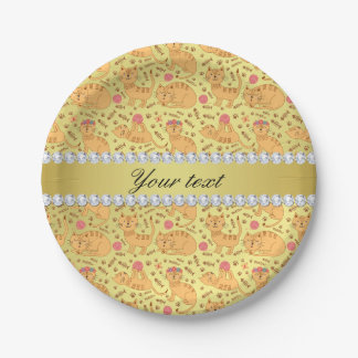Cute Cats Faux Gold Foil Bling Diamonds Paper Plate