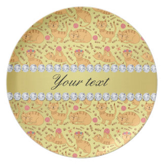 Cute Cats Faux Gold Foil Bling Diamonds Plate