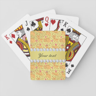 Cute Cats Faux Gold Foil Bling Diamonds Playing Cards