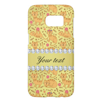 Cute Cats Faux Gold Foil Bling Diamonds Samsung Galaxy S7 Case