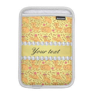Cute Cats Faux Gold Foil Bling Diamonds Sleeve For iPad Mini