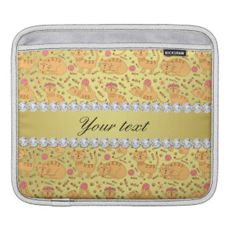 Cute Cats Faux Gold Foil Bling Diamonds Sleeves For iPads