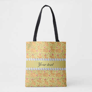 Cute Cats Faux Gold Foil Bling Diamonds Tote Bag