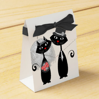 Cute Cats Hipster Bride And Groom Purrrfect! Favor Box