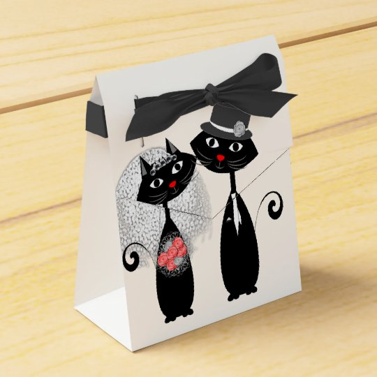 Cute Cats Hipster Bride And Groom Purrrfect! Favor Boxes