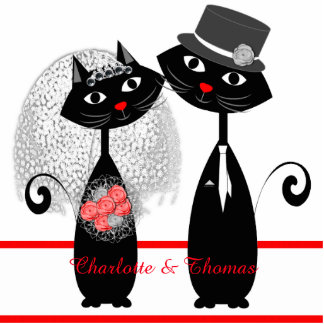 Cute Cats Hipster Bride And Groom Purrrfect! Standing Photo Sculpture