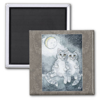 Cute cats in moonlight magnet