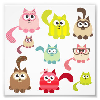 Cute cats,kid pattern,colorful,happy,fun,girly photo